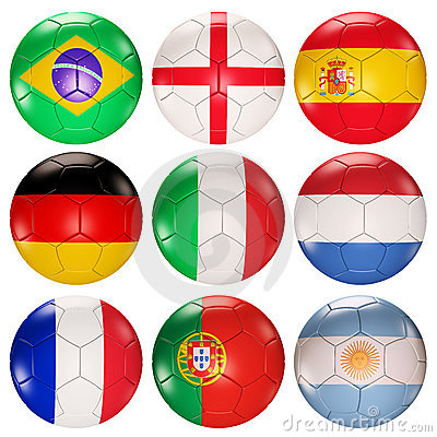 Free Soccer Balls Flags Of Top Ranked Countries 3d Royalty Free Stock Image - 14392376