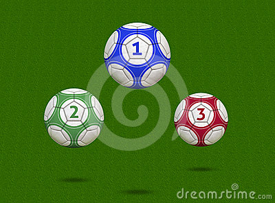 Soccer Balls Hovering Over Green Field