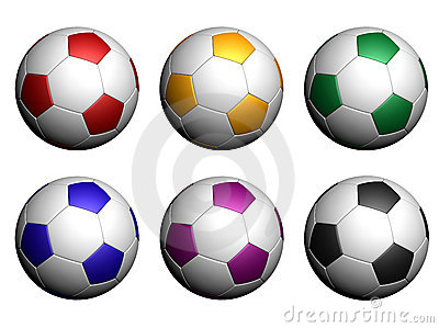 Soccer balls isolated on white background