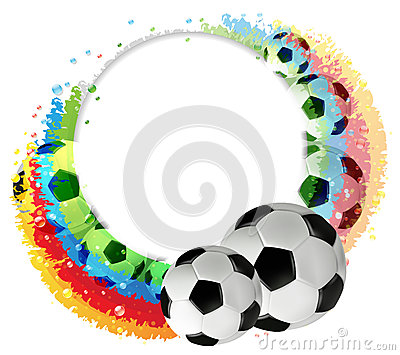 Soccer balls and rainbow