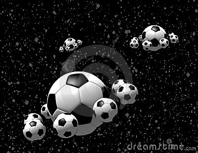 Soccer balls in the space