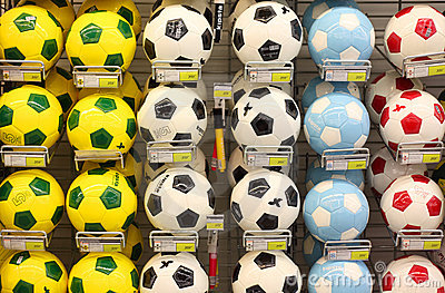 Soccer balls in store Editorial Photo
