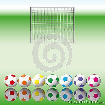 Soccer balls to soccer net.