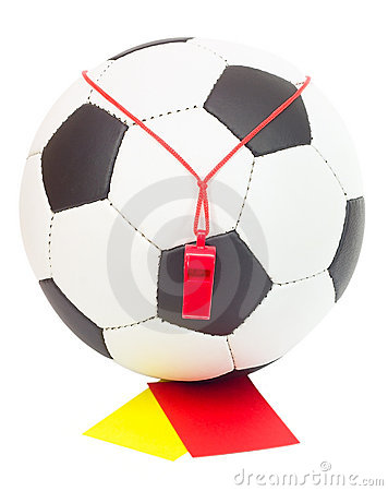 Soccer concept, ball, whistle, red and yellow card