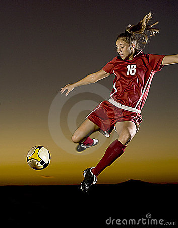 Soccer at Dusk Stock Photo