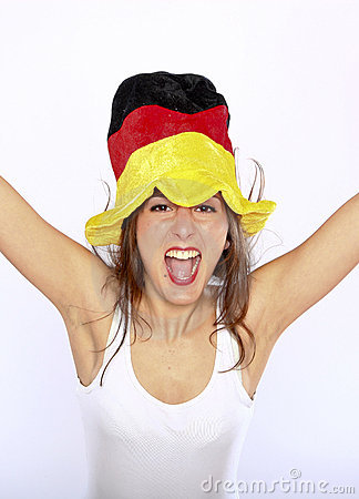 Soccer Fan Woman Wearing A Hat