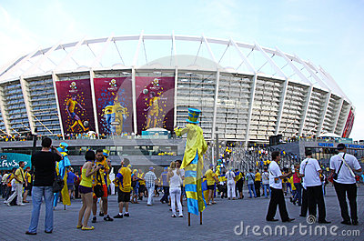 Soccer fans go to the Olympic stadium in Kyiv Editorial Photo