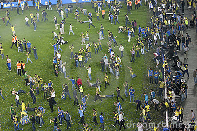 Soccer Fans invading pitch Editorial Stock Image