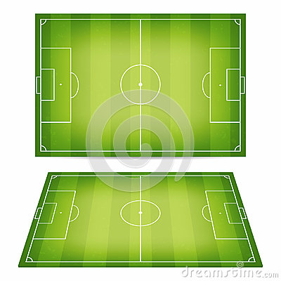 Free Soccer Field Collection. Football Fields With Trampled Down Grass. Top View And Perspective View Stock Photography - 95111832