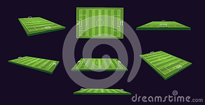 Soccer Field 3d Illustration Set on different views and angles