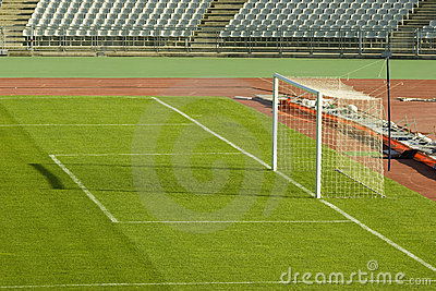 Soccer field and the goal