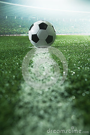 Free Soccer Field With Soccer Ball And Line, Side View Royalty Free Stock Photos - 33401448