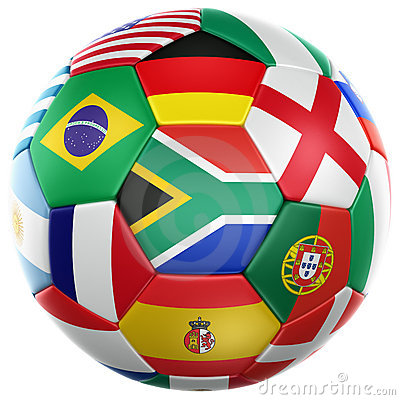 Soccer with flags from world cup 2010