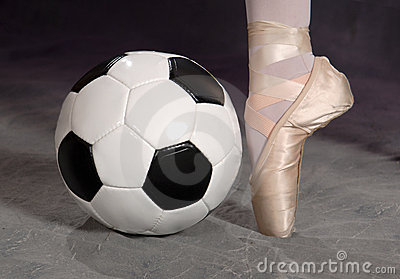 Soccer Football And Ballet Shoe Royalty Free Stock