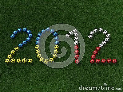 Soccer (football) balls on grass, 3d illustration