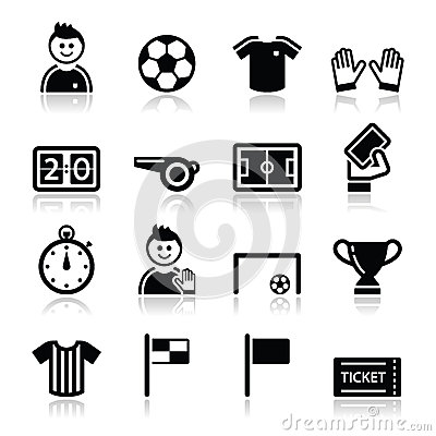 Free Soccer / Football Icons Set Stock Photography - 29343292