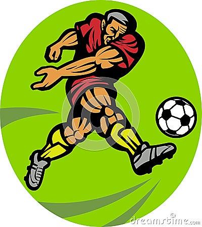 Soccer football player kicking