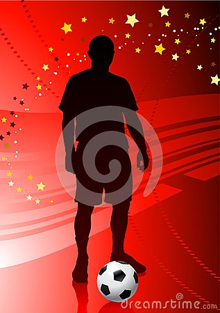 Soccer/Football Player on Red Background