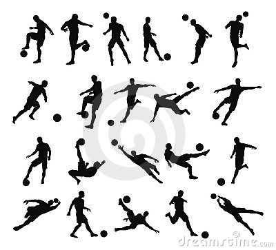 Free Soccer Football Player Silhouettes Stock Image - 20626201