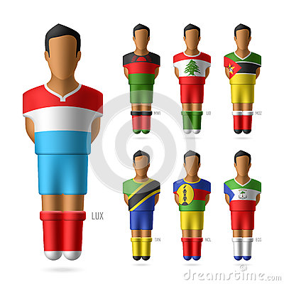 Soccer / football players in national flags unifor