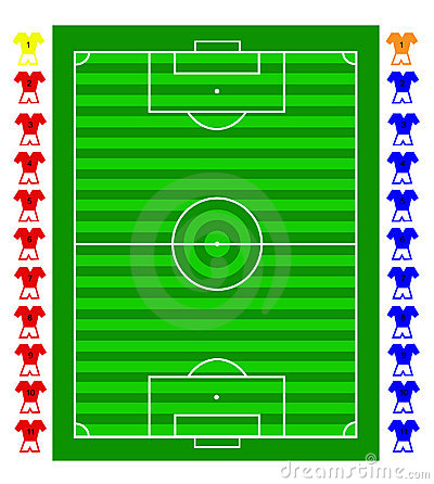 A  soccer football tactical pitch