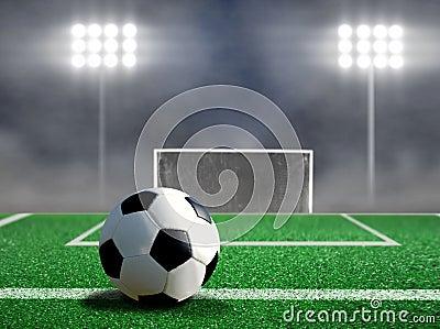 Soccer Free Kick with Spotlights