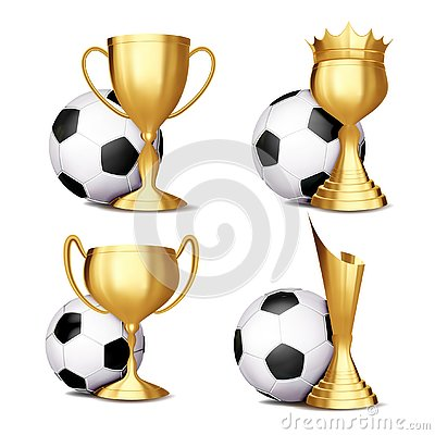 Free Soccer Game Award Set Vector. Football Ball, Golden Cup. Modern Soccer Tournament. Design For Sport Promotion Royalty Free Stock Photo - 139150575