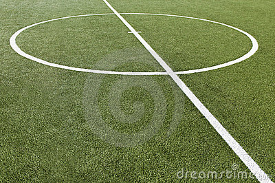 Soccer game field with goal kick