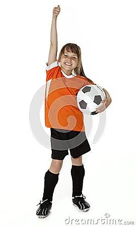Soccer Girl on White