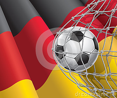 Soccer Goal. German flag with a soccer ball.