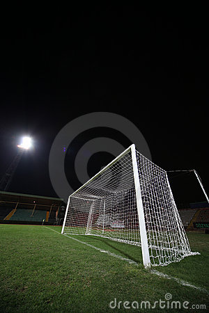 Soccer goal under floodlight