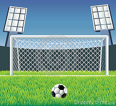 Free Soccer Goal With Realistic Grass. Stock Images - 13187624