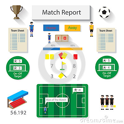 Infographic Ideas infographic soccer : Soccer Match Statistic Report Infographic Stock Vector - Image ...