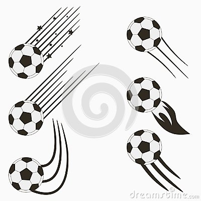 Free Soccer Or European Football Flying Balls Set With Speed Motion Trails. Graphic Design For Sports Logo. Vector. Stock Photography - 107966072