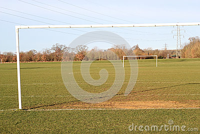 Soccer pitch with goalposts.