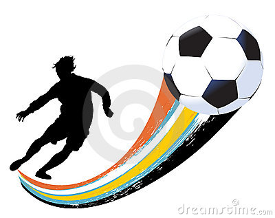 Soccer player and ball
