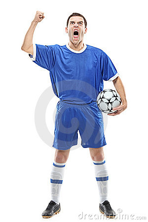 Soccer player with a ball screaming