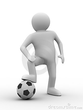 Soccer player with ball on white background