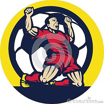 Soccer player celebrating a goal