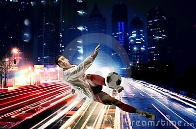 Soccer player in the city