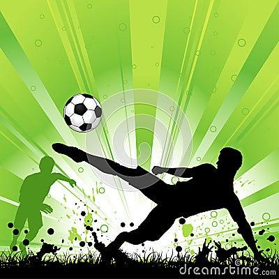 Soccer Player on Grunge Background