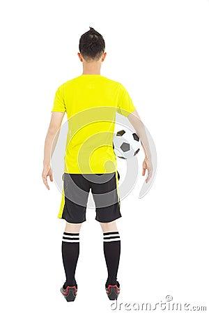 Soccer player holding a soccer
