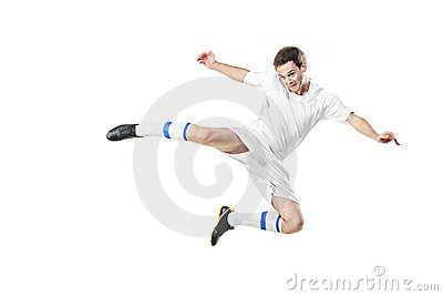 Soccer player in a jump