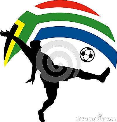 Soccer player kicking ball flag