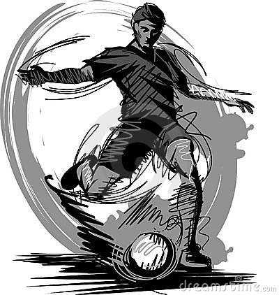 Soccer Player Kicking Ball Vector silhouette