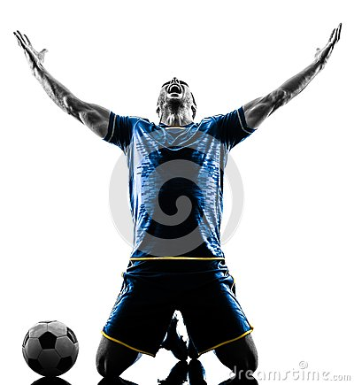 Free Soccer Player Man Happy Celebration Silhouette Isolated Stock Photos - 107799183