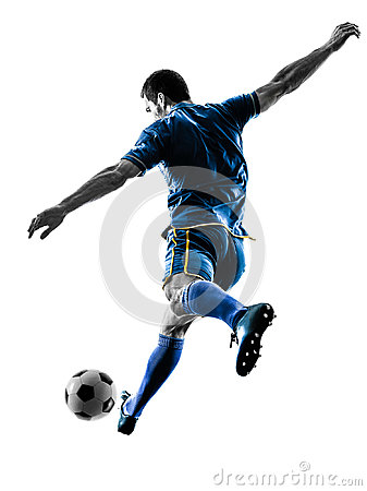 Free Soccer Player Man Kicking Silhouette Isolated Stock Images - 97562024