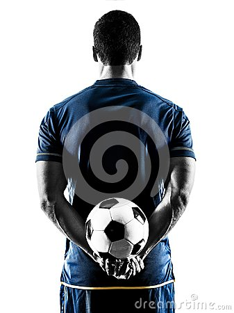 Free Soccer Player Man Standing Back  Silhouette Isolated Stock Images - 103775964