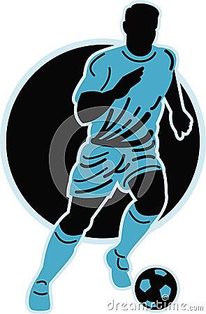 Soccer player running ball