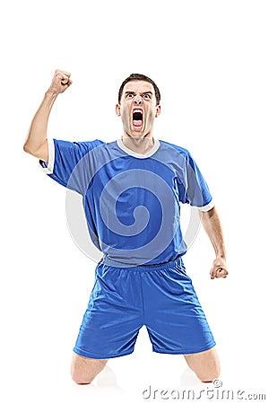 Soccer player screaming